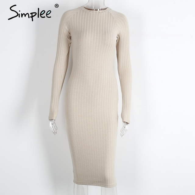 Simplee knitted long sleeve bodycon dress Women vintage christmas 2016 Winter elegant sweater dress black midi dresses chic 2017