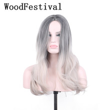WoodFestival Women Synthetic Wig Heat Resistant High Temperature Fiber Black Brown Grey Long Cosplay Wigs