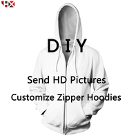DIY Personalized Design Zipper Hoodies Men/Women 3D Printed Own Picture/Star/Singer/Anime/Cartoon Casual Style Hoodie Tops X246
