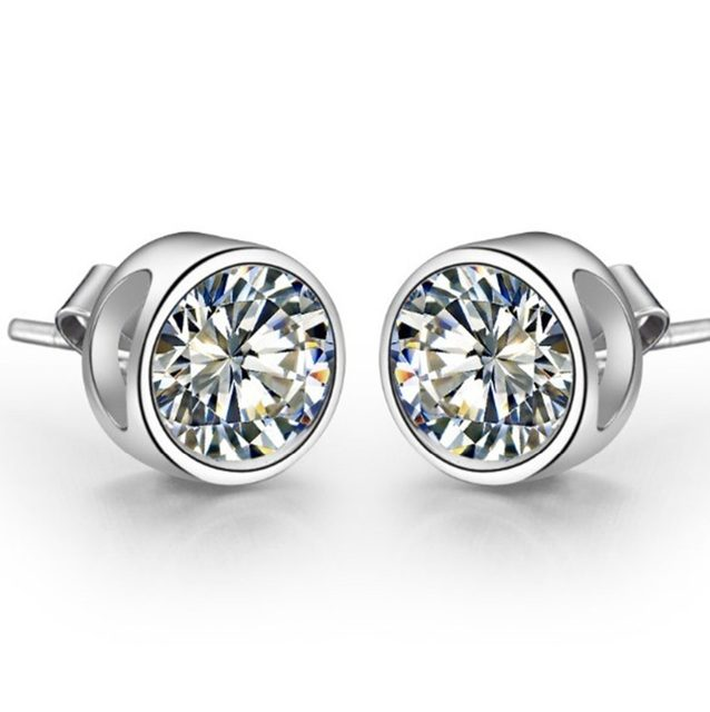 0 5ct Piececontract Round Brand Genuine Pure Silver Stud Earring Lovely Diamond Earrings For Bridal Wedding Jewelry
