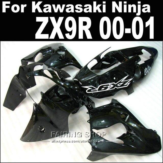 Pure Black 2000 2001 00 01 Zx9r Fairings For Kawasaki Ninja Aftermarket 7 Free
