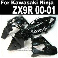 Pure black 2000 2001 00 01 zx9r fairings For Kawasaki Ninja Aftermarket Fairings +7 free gifts xl02