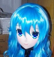 Handmade Female Silicone Rubber Full Head Mask Cosplay Blue Long Roll Hair Kigurumi Mask Crossdresser Doll Anime Role Play