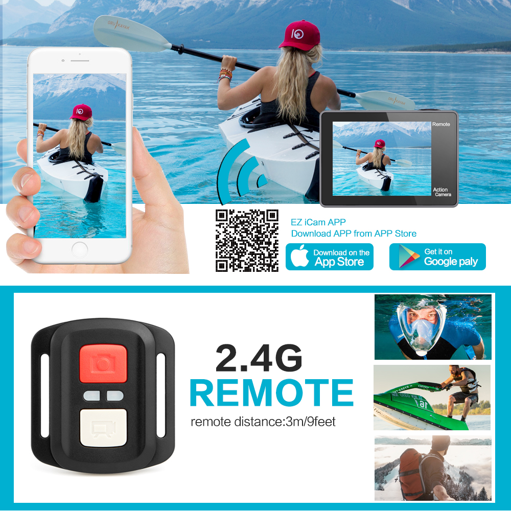 """Image 3 - GEEKAM H3R/H3 Action Camera Ultra HD 4K/30fps 20MP WiFi 2.0"""" 170D Dual Screen Waterproof Helmet Video Recording Camera Sport Cam-in Sports & Action Video Camera from Consumer Electronics"""