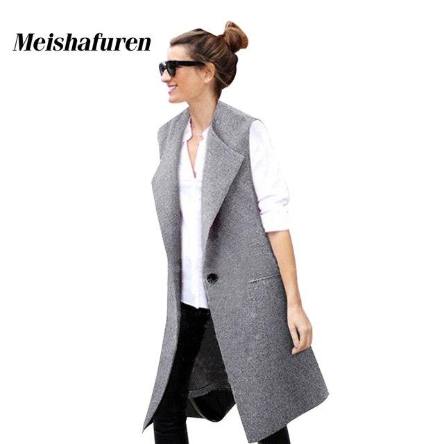 2017 Fashion Spring Autumn Long Vest Women Causal  Loose Long Waistcoat One Button Sleeveless V-Neck Long Cardigan W1006C