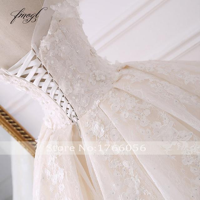 Fmogl Sexy Sweetheart Lace Ball Gown Wedding Dresses 2019 Applique Beaded Flowers Chapel Train Bride Gown Vestido De Noiva 4