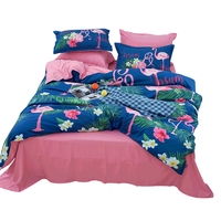 Blue Flamingo Printing Duvet Cover Set Solid Color Bed Sheet Soft Pillow Case Twin Queen King