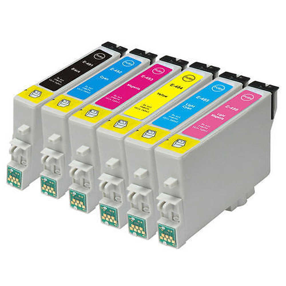 6x Kompatibel Epson T0487 XL Ink Cartridge untuk STYLUS PHOTO R200 R220 R300 Rx500 RX590 Rx600 Rx620 Printer