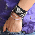 Black Cowhide Leather Heart Angel Wing Chain Bangle Punk Rock Bracelet Jewelry