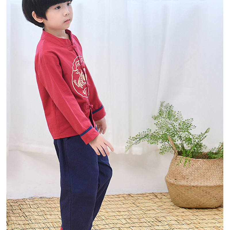 boys hanfu chinese costume cotton linen hanfu shirt pants for boy dragon embroidery Chinese traditional clothing suits in Chinese Folk Dance from Novelty Special Use