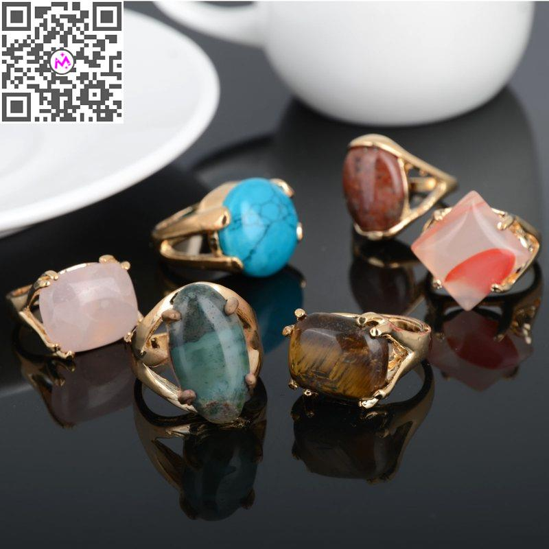 10pcs lot Wholesale Mixed Design Crystal Gems Natural Stone Rings