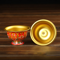 Gifts 4 pcs Buddhism Meditation Holy Water Cup Retro Gilt Copper Decorative Bowl Religion Buddhist Supplies Metal Figurine Craft