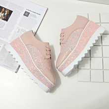 New 2017 Lace-up Sequins Woman Casual  Shoes High Heels Wedges Women's Shoes Thick Bottom  Platform Shoes