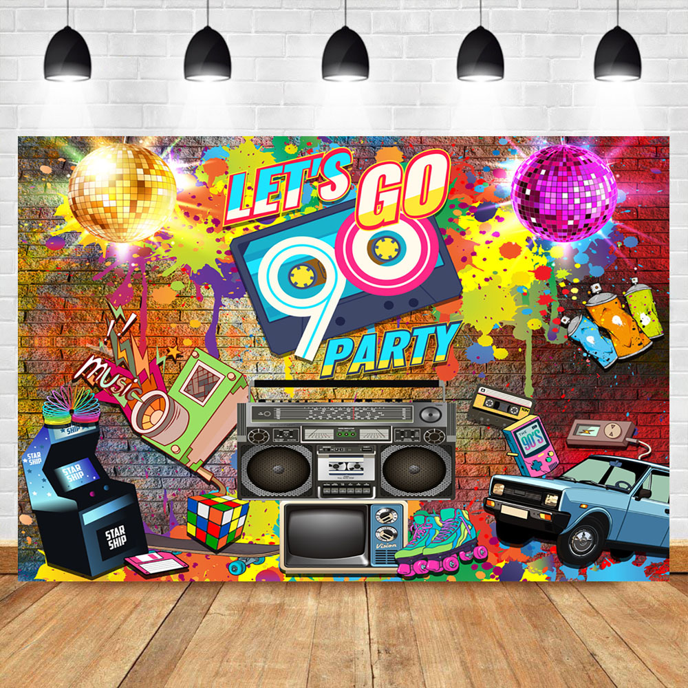 NeoBack 90's Party Backdrop Graffiti Hip Pop Neon Glow 90s Background Graffiti Wall Music 90th Themed Party Banner Decoration image