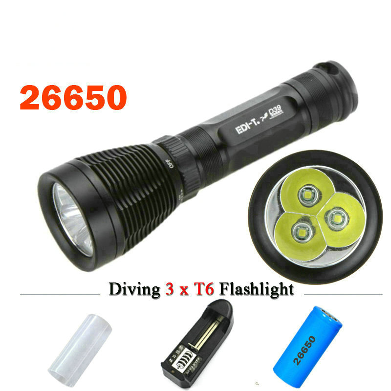18650 or 26650 battery Underwater light Diving flashlight 3 CREE XML T6 scuba flashlights 100M dive torch waterproof lamp 4500lm 4cree xml t6 led lanttern waterproof underwater scuba dive diving flashlight torch light lamp for diving by 26650 battery