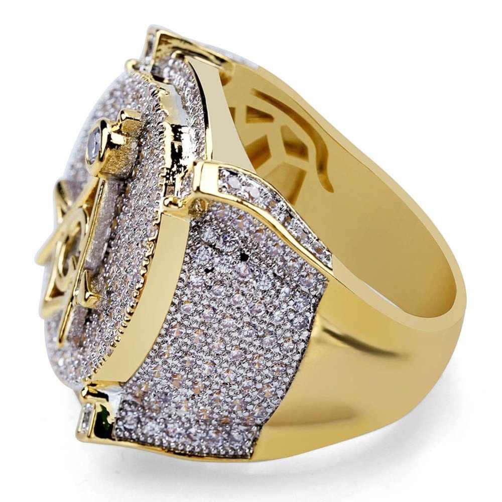 TOPGRILLZ Hip Hop Gold สีทองเหลืองชุบ Iced Out Micro Pave Cubic Zircon Masonic Ring สำหรับของขวัญผู้ชายพร้อม 7 8 9 10 11