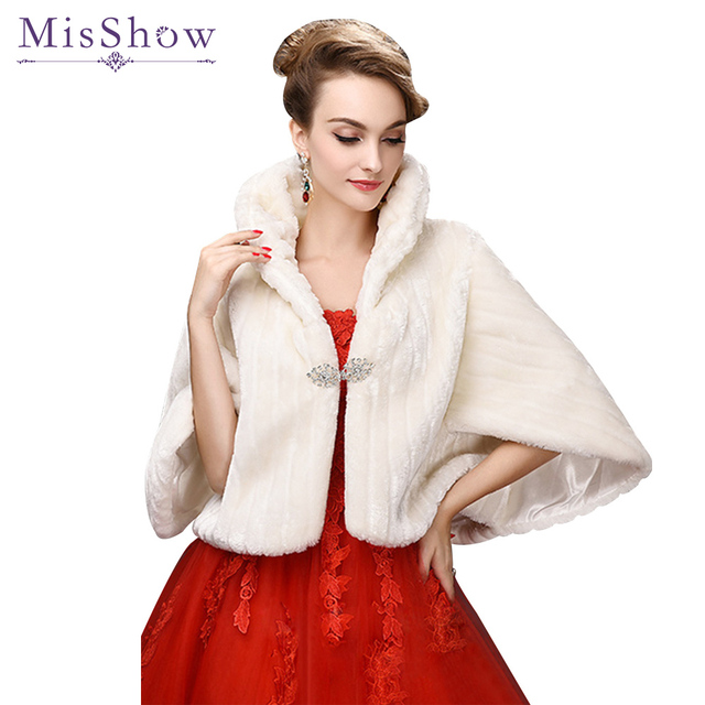 Hot Misshow Ivory Faux Fur Wedding Accessories 2018 Jacket Bridal Winter Warm Bride Wrap Shawl