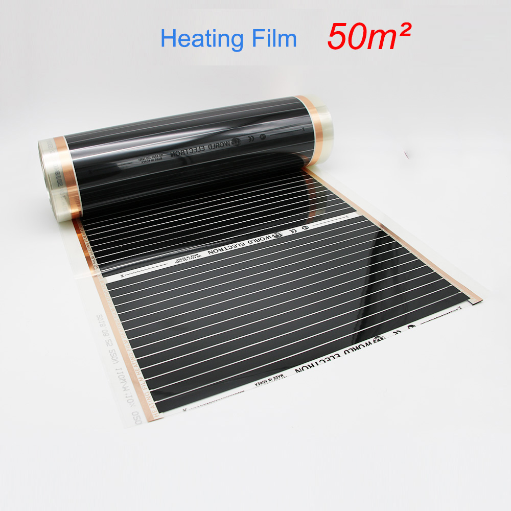 50M2 Infrared Floor Heating Film 220W square meters Width Choose Infared Heating Film for House Warming
