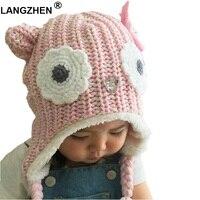 2017 New Langzhen Brand Girls Hats Pink Owl Kids Baby Winter Hats Bonnet Enfant Hat For