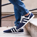 2017 Fashion New Spring/Autumn Lace-Up Korean Blue+Black Men Flats Breathable Casual Shoes