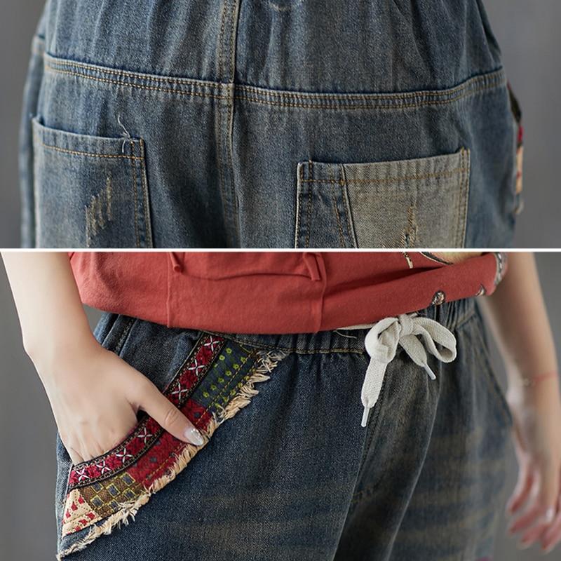 Retro Mujeres Mujer Elástica Otoño Bordado Pantalones Capris Moda Para Las Jeans Agujero Azul Denim Vintage Casual Cintura 2018 ap5wdxa