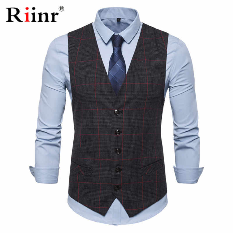 3 Color Men's Business Casual Slim Vests Fashion Men Plaid Single Buttons Vests Fit Male Suit For Men Spring Autumn S-3XL