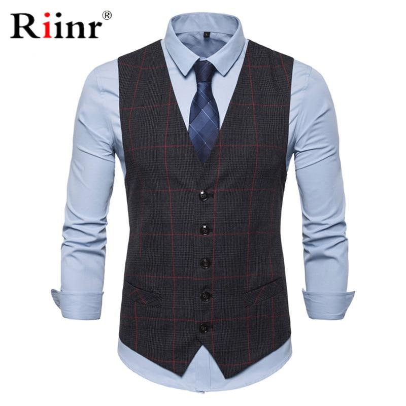 3 Color Men's Business Casual Slim Vests Fashion Men Plaid Single Buttons Vests Fit Male Suit For Men Spring Autumn S-3XL