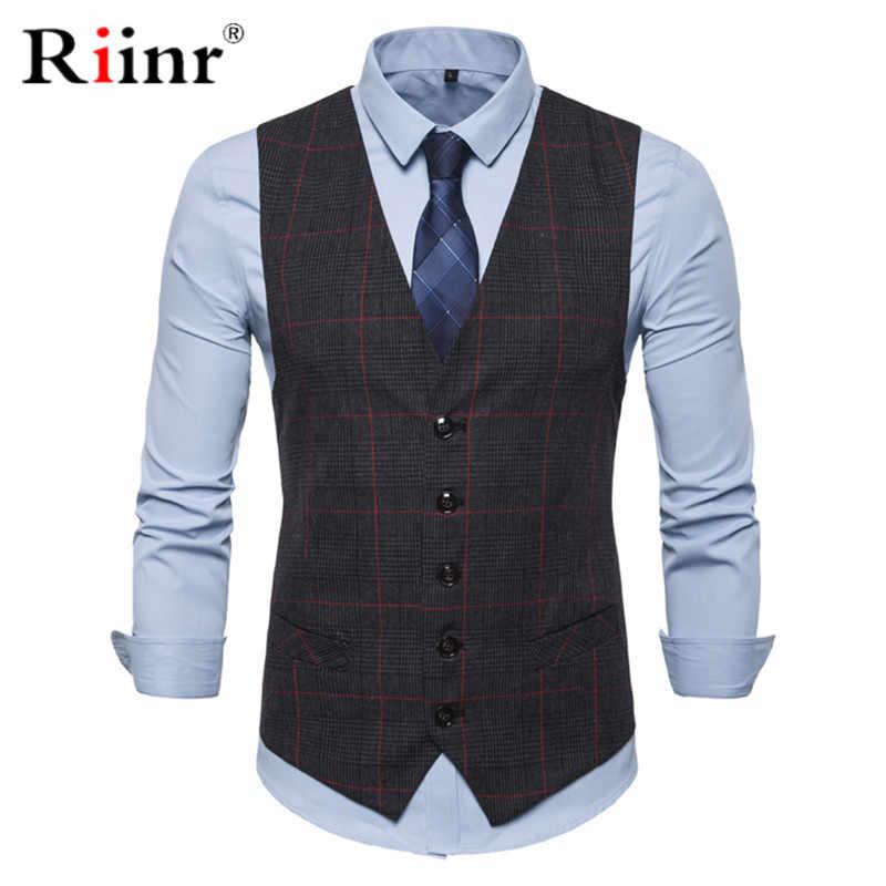 3 kolor męski Business Casual smukłe kamizelki moda męska Plaid pojedyncze guziki kamizelki Fit męski garnitur dla mężczyzn wiosna jesień S-3XL