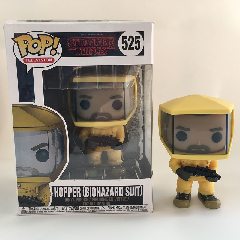 Funko POP Stranger things & HOPPER (BIOHAZARA SUIT) PVC Action Figure Boy toys birthday Gift
