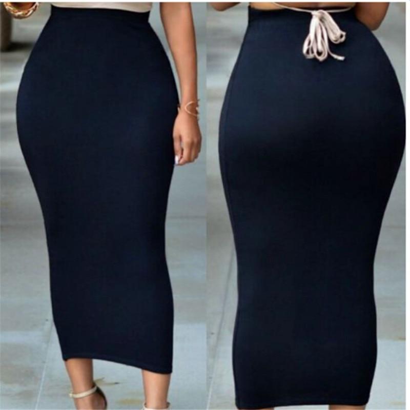 Muslim Women's Sexy Skinny Pencil Thick Skirt Ladies Hips Wrap Bodycon High Waist Elastic Stretch Long Maxi Frauen Pencil Skirts