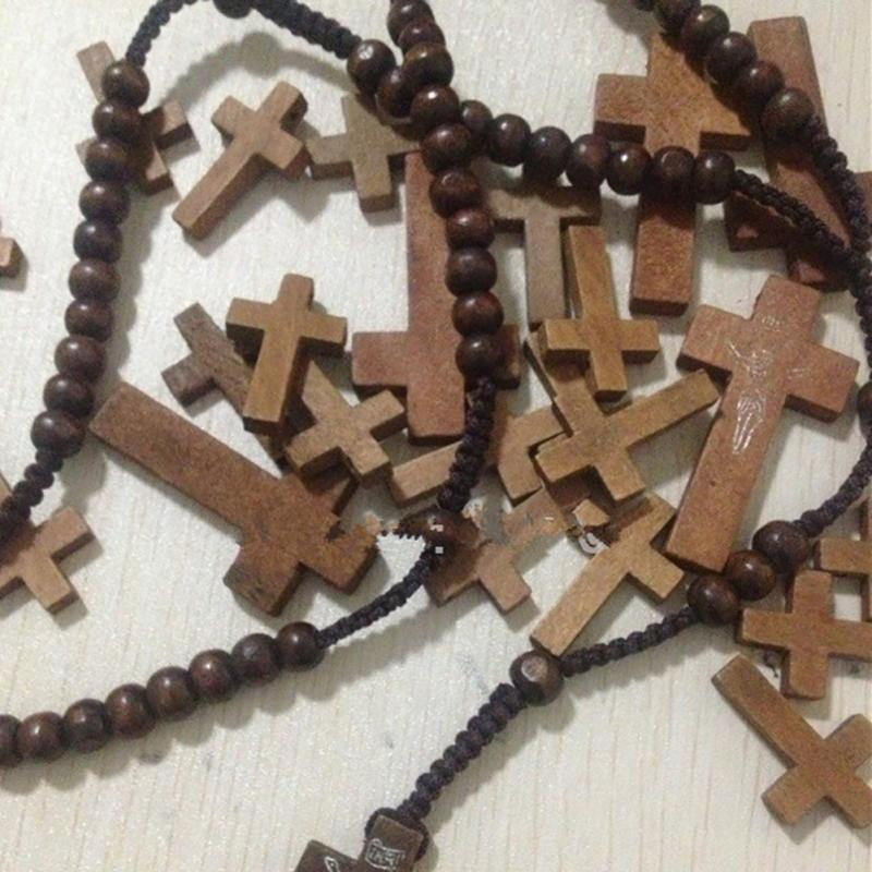 Catholic Christ Wooden Rosary Bead Rope Necklace