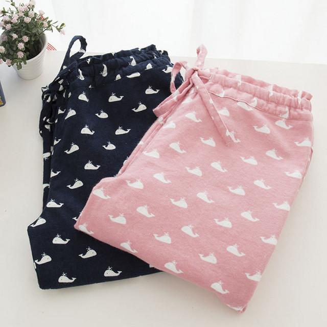 De la mujer 100% algodón de primavera y otoño duermen fondos con lindo pescado Dophin salón pantalones de franela plana de alta calidad para mujeres