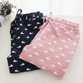 women's 100% cotton spring and autumn sleep bottoms with cute Dophin fish lounge pants flat flannelette top quality for women