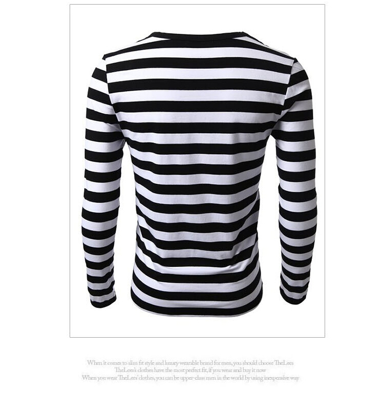 Aliexpress.com : Buy Black/White/Striped T Shirt Men Slim Fitted ...