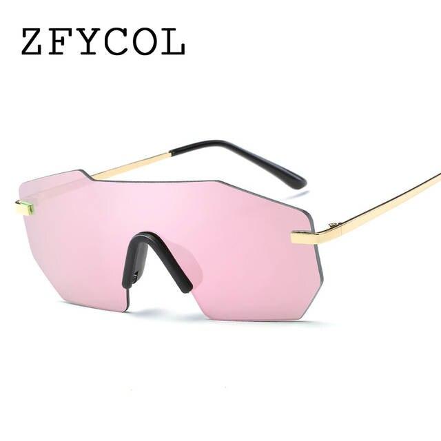 dc30f50206956 ZFYCOL Espelhado Lente Sem Aro de óculos de Sol Das Mulheres Designer De  Marca Original de