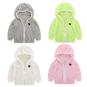 Clothing Coat Outerwear Sunscreen-Jacket Hooded Girls Summer Zipper Long-Sleeve Stripe