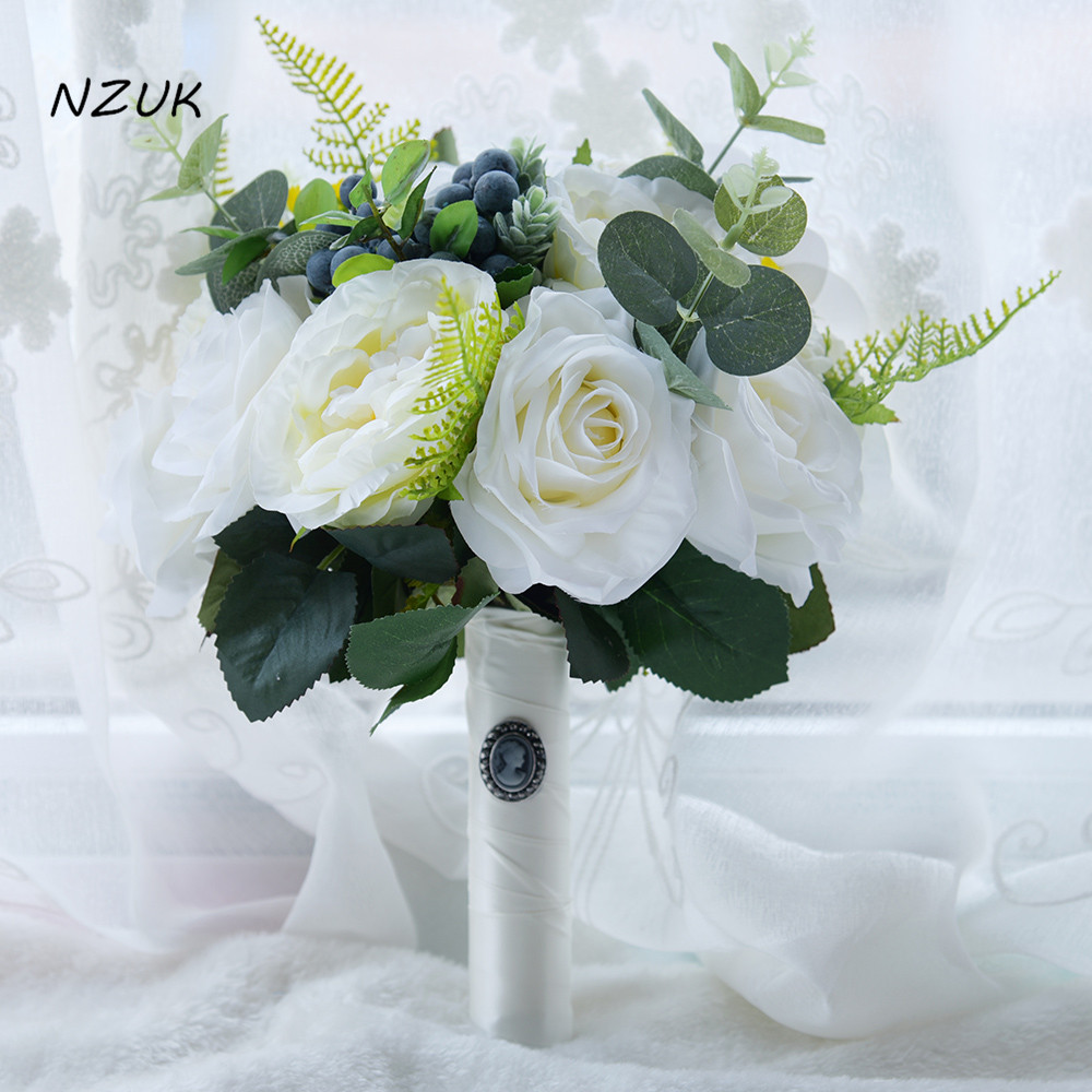 2018 thé blanc rose fleurs artificielles bouquet de mariée faux fleurs berry mariage bouquet mariée bouquets mariage fournitures de mariée