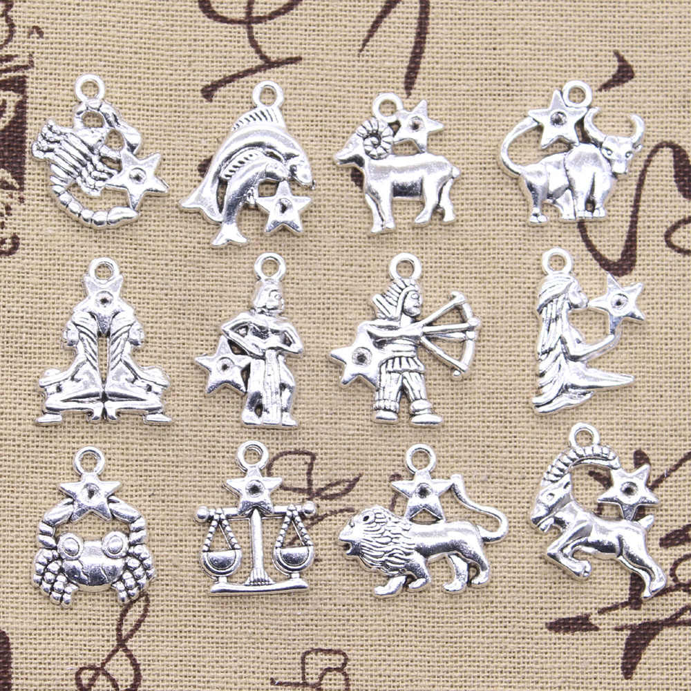 12types Charms Zodiac Vigro Aries Cancer Leo Libra Gemini  Antique Silver Pendants Making DIY Handmade Tibetan Silver Jewelry