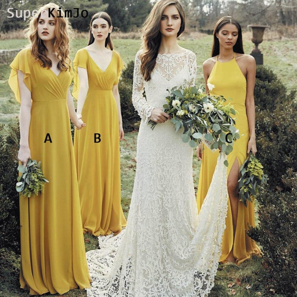 SuperKimJo Mustard Long   Bridesmaid     Dresses   2019 Chiffon Cheap Wedding Party   Dress   Robe Demoiselle D'honneur Pour Femme