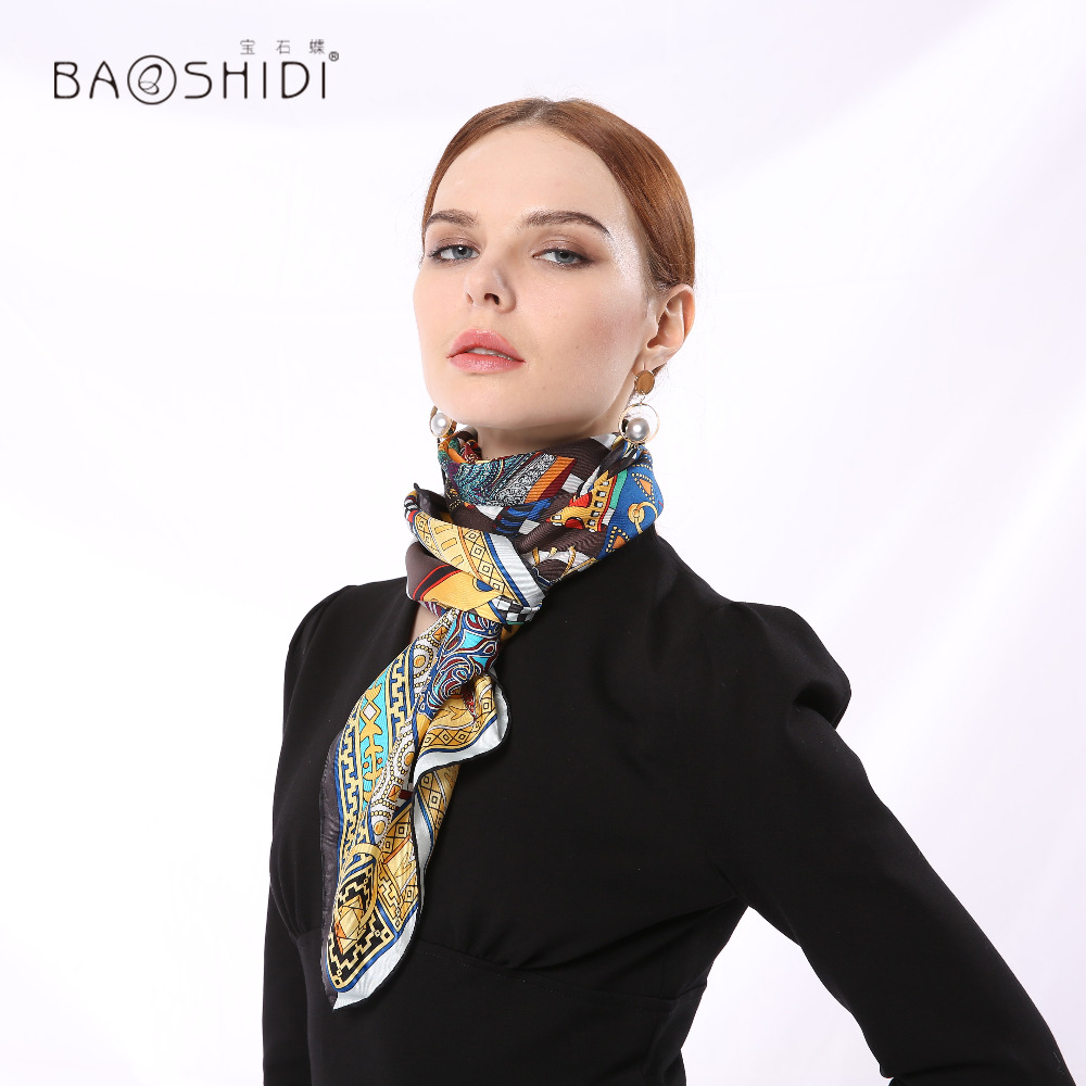 100% Silk Twill Scarf, Infinity Square Shawl,Floral Printed Female Scarfs,Elegant Ladies Scarves,Hand Rolled Edge Manual Printed