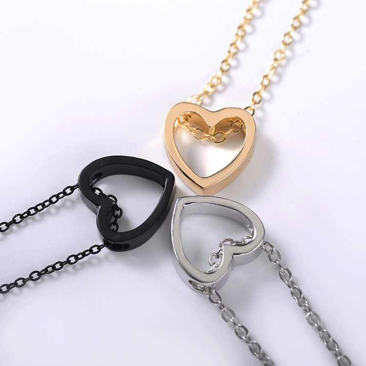 Wholesales Dainty Cute Glossy Heart Shaped Peach Heart Pendant Clavicle Chain Necklace Jewelry Wedding LOVE Couple Collier