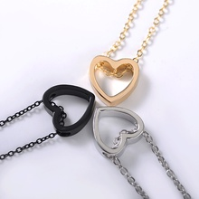 Wholesales Dainty Cute Glossy Heart Shaped Peach Pendant Clavicle Chain Necklace Jewelry Wedding LOVE Couple Collier