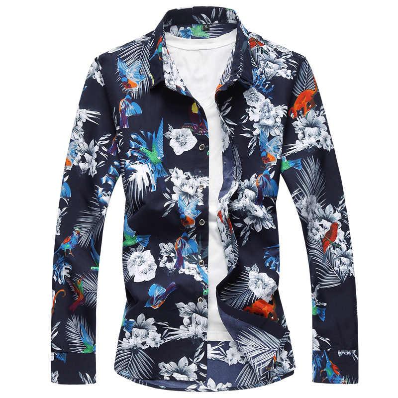 2019 брендовые модные мужские рубашки с длинным рукавом рубашка Для мужчин плюс Размеры M-7XL Цветочная гавайская рубашка мальчиков Camisa социальной Masculina