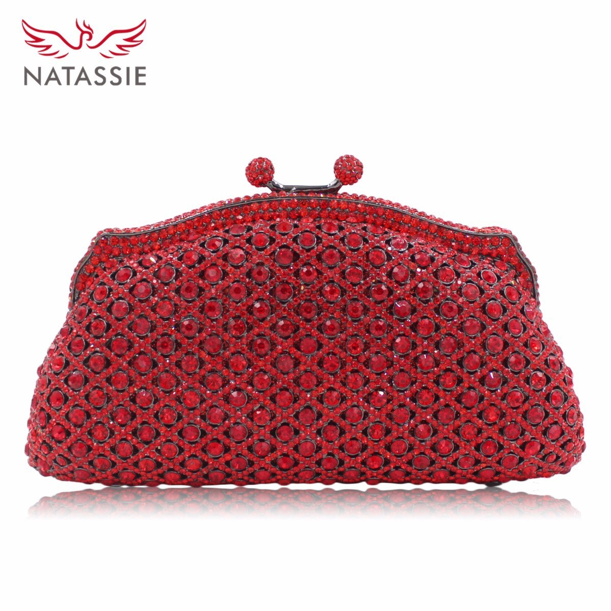 NATASSIE New Women Evening Bag Luxury Diamonds Handbag Wedding Crystal Clutch Bags Party Leather Purse natassie new design luxury crystal clutch women evening bag gold red ladies wedding banquet party purses good quality