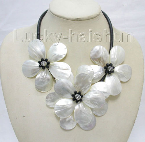 handcraft 3pcs bloom white black pearls choker necklace >Selling jewerly free shipping