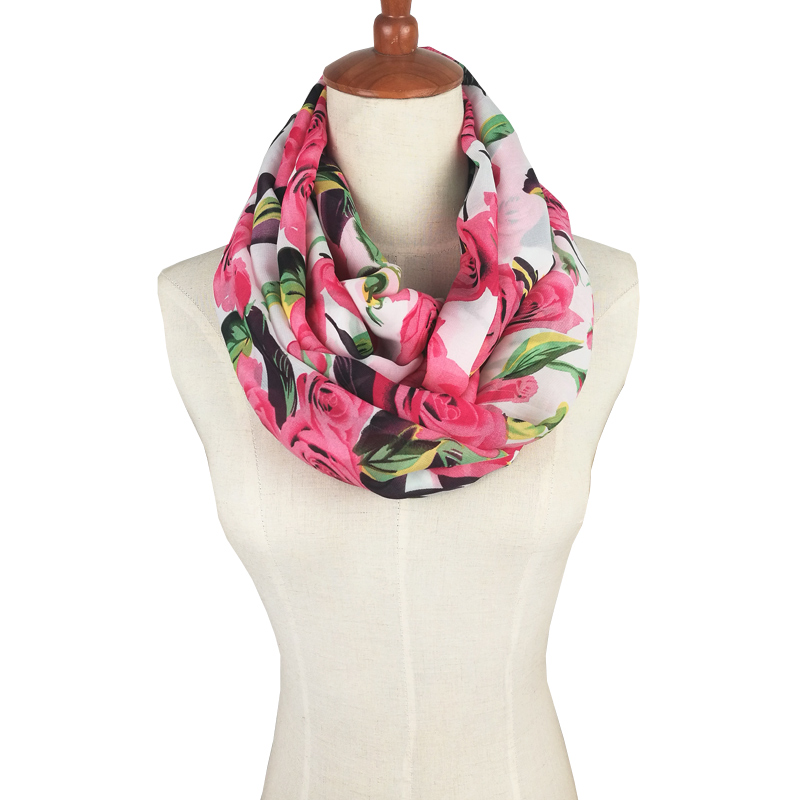 2019 Design Women Scarf Floral Print Silk Chiffon Soft Wrap Infinity Loop Tube Scarf Flowers Pattern Color Bandana Scarves