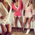 Novas mulheres Kimono Playsuit Sexy Clubwear Romper Jumpsuit V Neck Lace curto Set