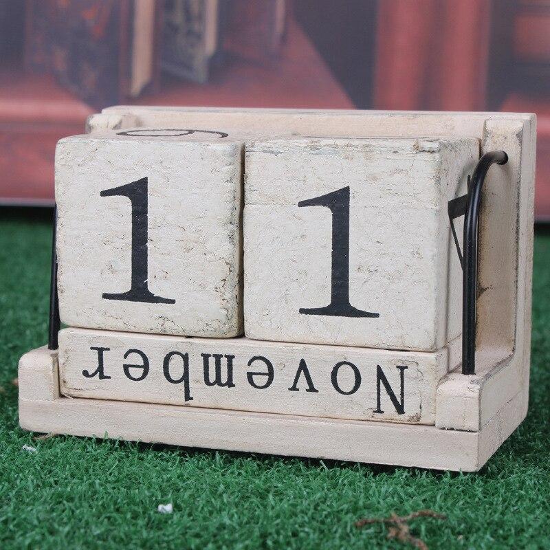 Wood Calendar Zakka Furnishing Articles Manually Small Desk Vintage Calendar Household Daily free Shipping Log Crafts Wood