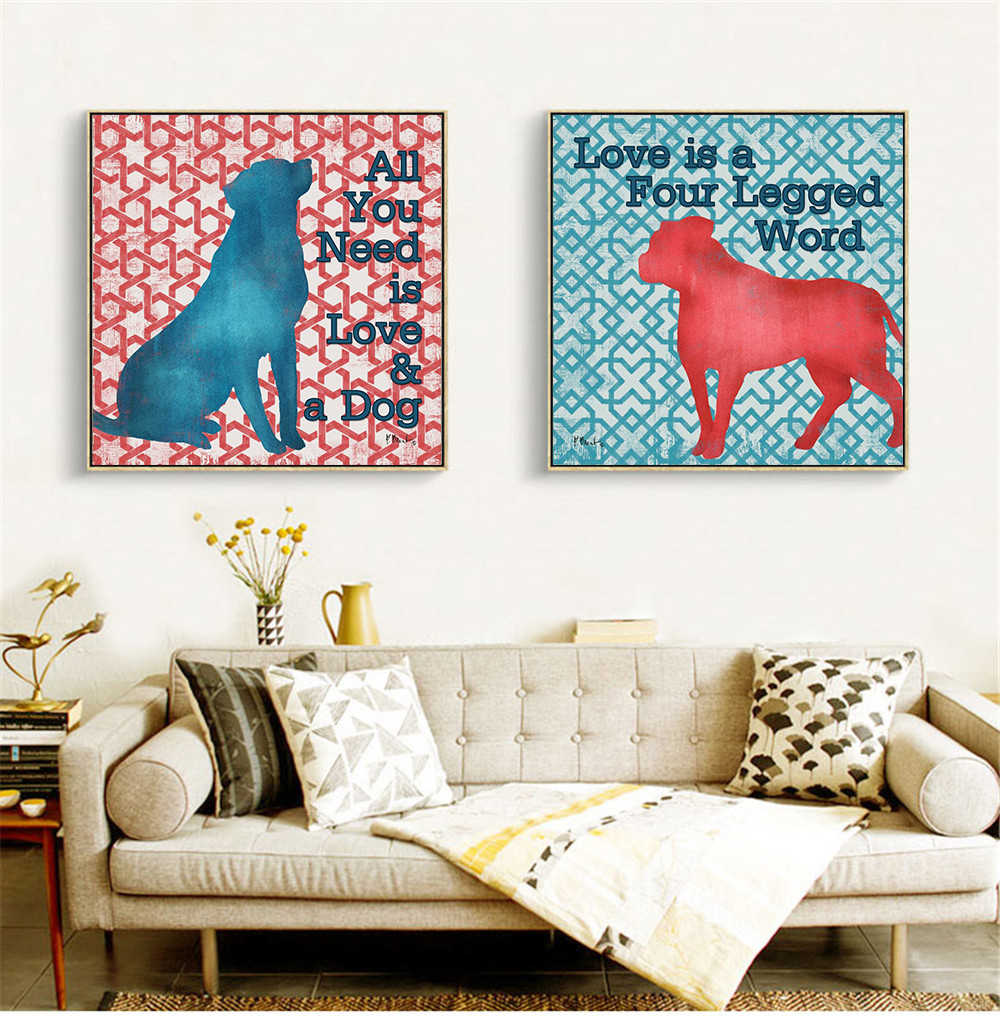 Funny Dog Rules Love Dog Quotes Posters and Prints Wall Pictures for Living  Room Home Decor Wall Art Retro Cuadros Deocracion
