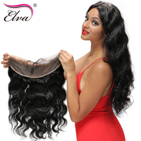 Elva Hair Pre Plucked Lace Frontal Closure 13x4 Body Wave 8-18'' Brazilian Remy Hair With Baby Hair Natural Hairline Free Part